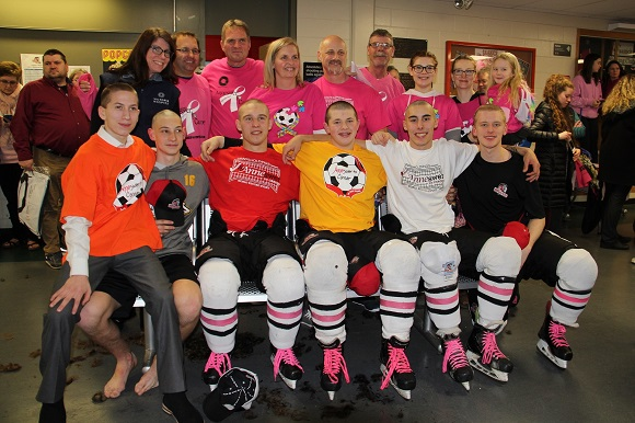 Group shot Anneswer to cancer and Saanich Jr. Braves